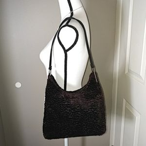 J Ferrar 90's Lamb Shoulder Bag Purse Black